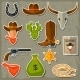 Wild West Cowboy Objects and Stickers Set - GraphicRiver Item for Sale
