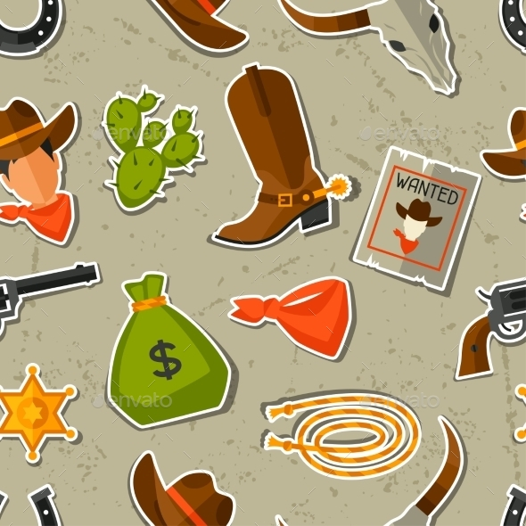 GraphicRiver Wild West Seamless Pattern with Cowboy Objects 11577148