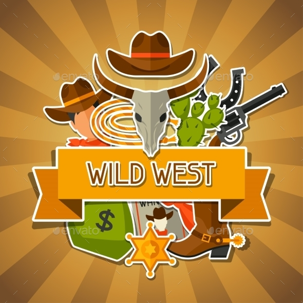 GraphicRiver Wild West Background with Cowboy Objects 11577155