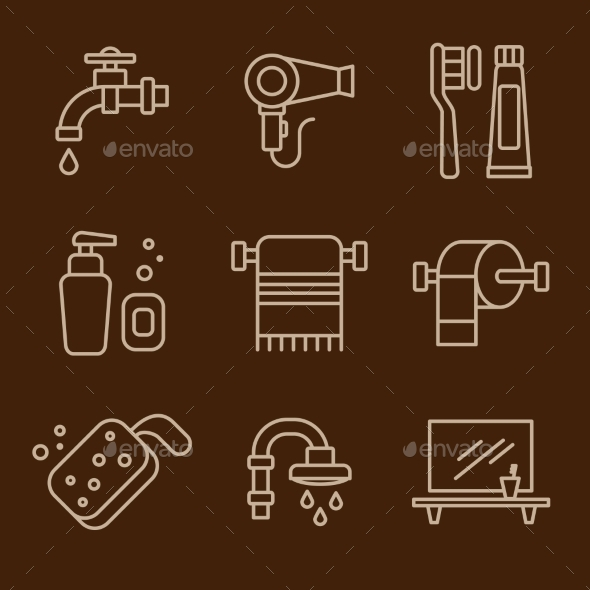 GraphicRiver Set Of Icons Bathroom Vector 11577161