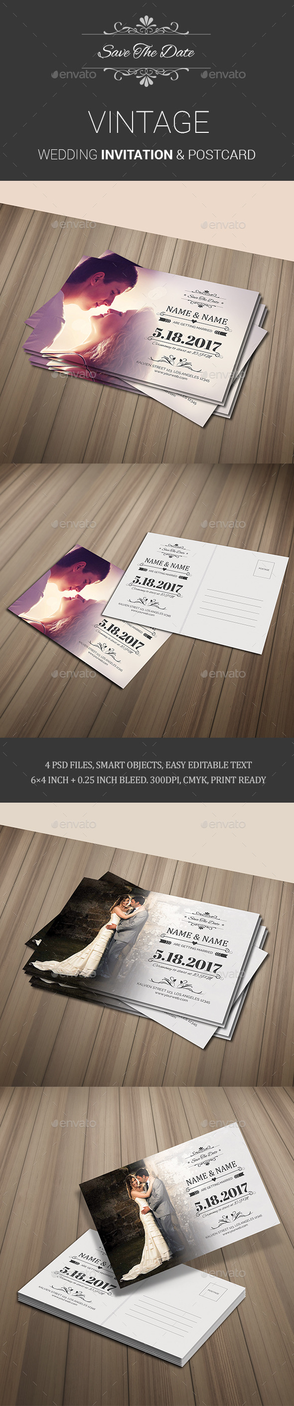 GraphicRiver Vintage Wedding Invitation & Postcard 11577362