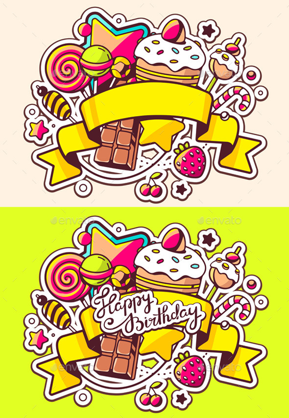 GraphicRiver Festive Pile of Sweets with Ribbon 11577776