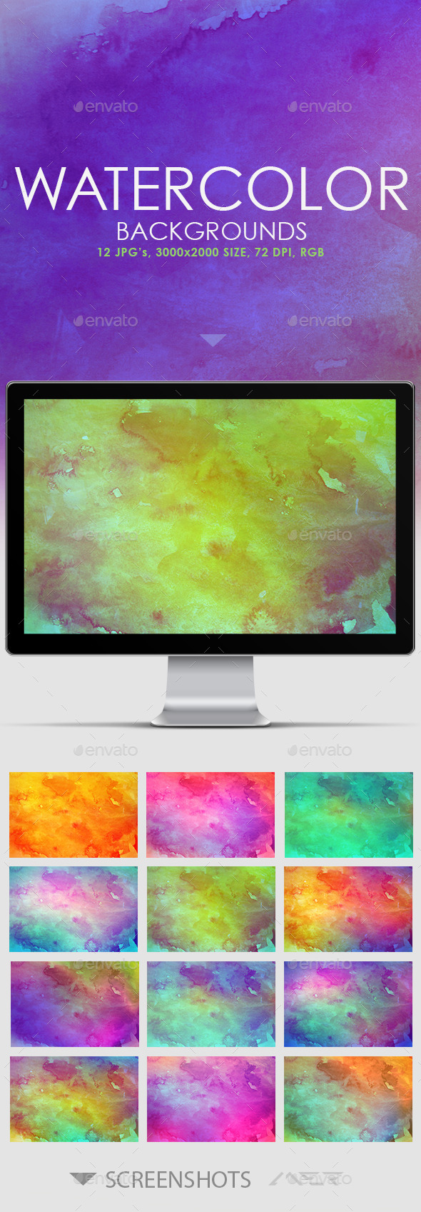 GraphicRiver 12 Real Watercolor Backgrounds 11578311