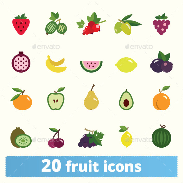 GraphicRiver Fruits And Berries Icons 11578550