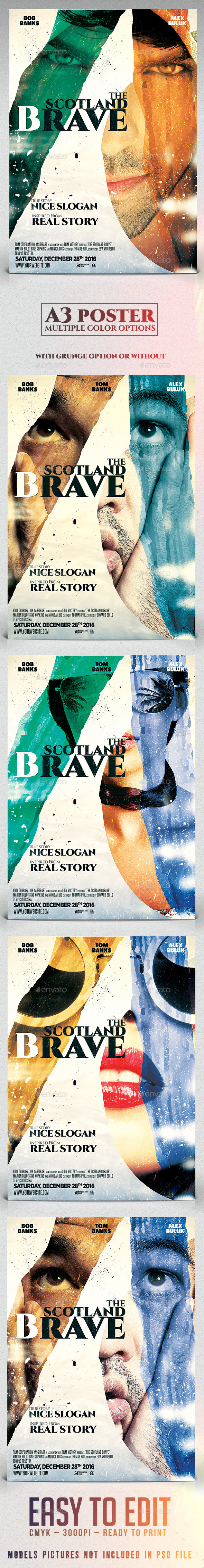 GraphicRiver A3 Poster Film Template The Scotland Brave 11578599