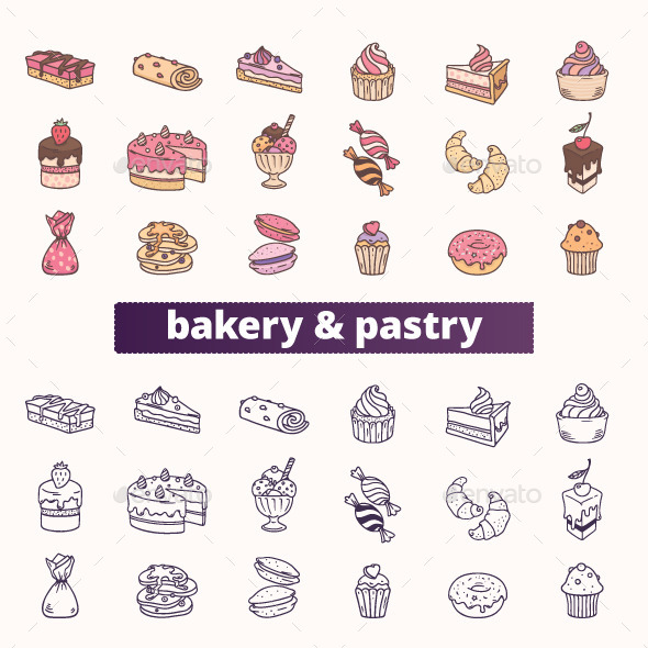 GraphicRiver Bakery Pastry and Sweet Food Icons 11578601