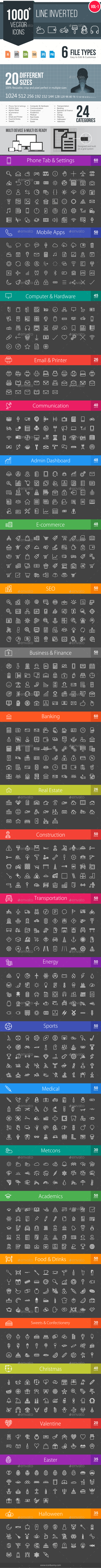 GraphicRiver 1000& Line Inverted Vector Icons 11578848