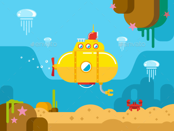 GraphicRiver Submarine Underwater Flat Illustration 11578852