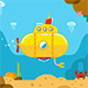 Submarine Underwater Flat Illustration - GraphicRiver Item for Sale