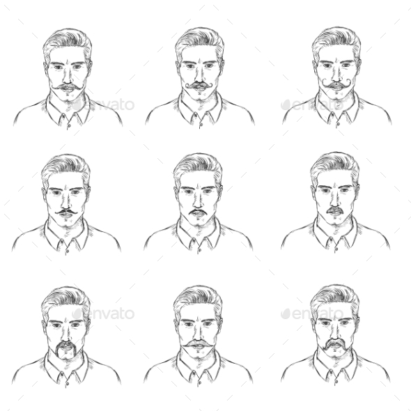 GraphicRiver Set of Mens Faces with Mustaches 11579246