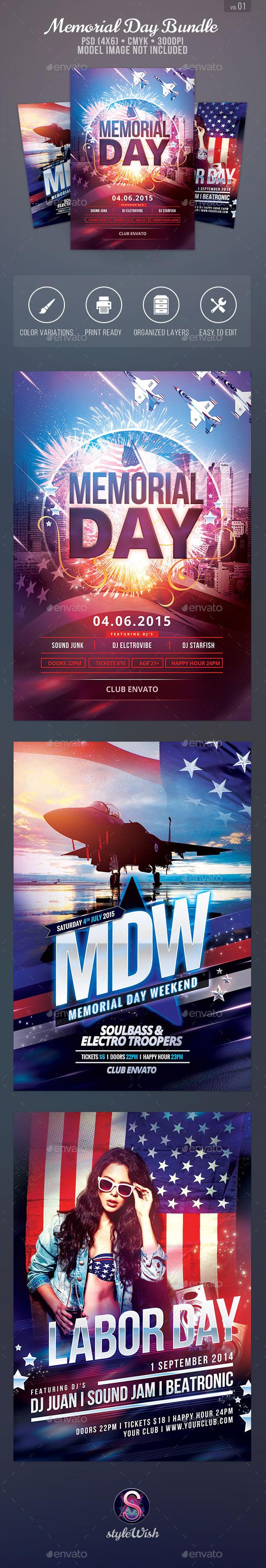 GraphicRiver Memorial Day Flyer Bundle 11579521