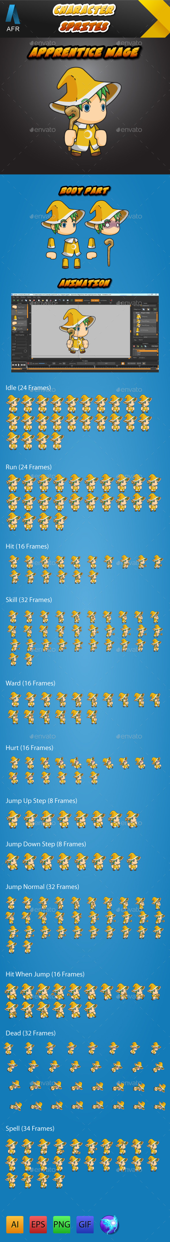 GraphicRiver AFR Tiny Character Sprite Apprentice Mage 11579548