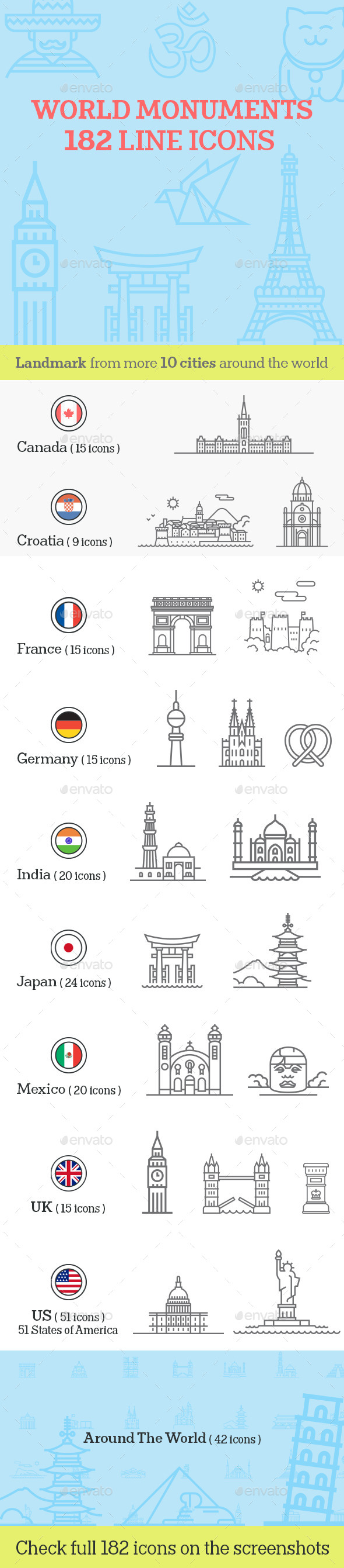 GraphicRiver World Monuments Line Icons 11579551