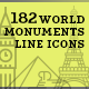 World Monuments Line Icons - GraphicRiver Item for Sale