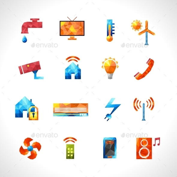 GraphicRiver Smart House Polygonal Icons 11579553