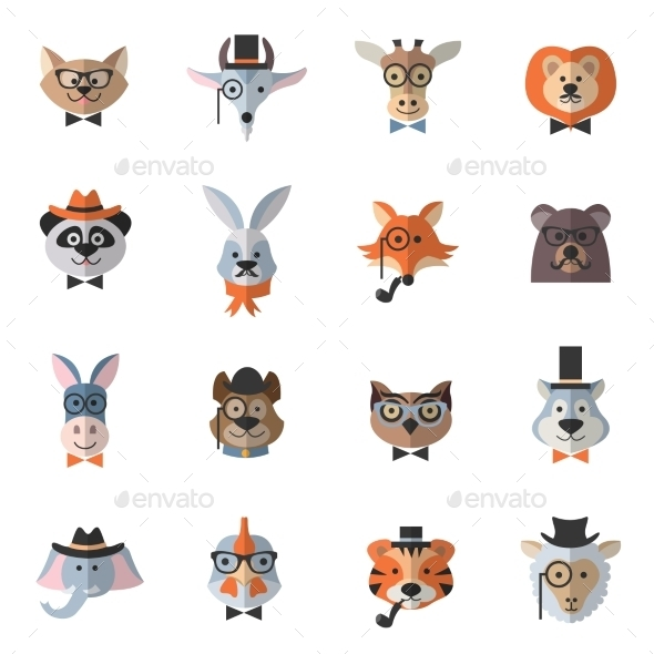 GraphicRiver Animal Hipster Set 11579663