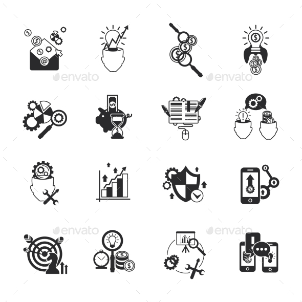 GraphicRiver Business Analysis Icons Set Black 11579872