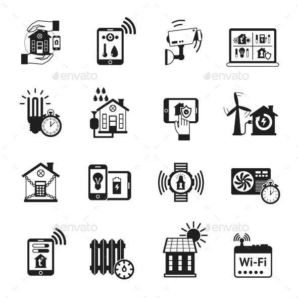 GraphicRiver Smart House Black Icons Set 11579873