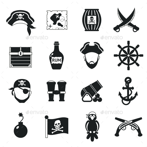 GraphicRiver Pirate Icons Set Black 11579875