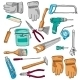 Painter Working Tools Icons Set Color  - GraphicRiver Item for Sale