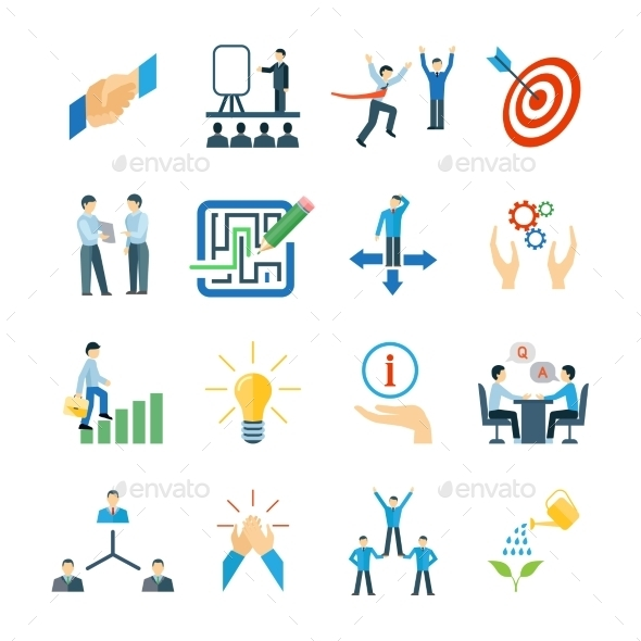 GraphicRiver Mentoring Icons Flat Set 11579901