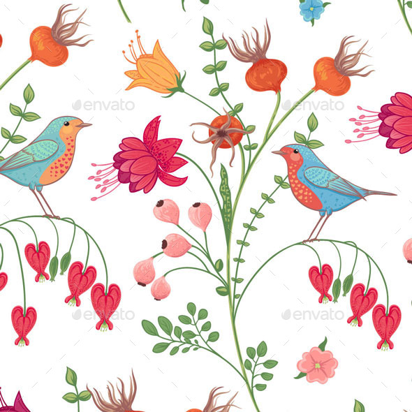 GraphicRiver Botanical Pattern with Birds 11579906