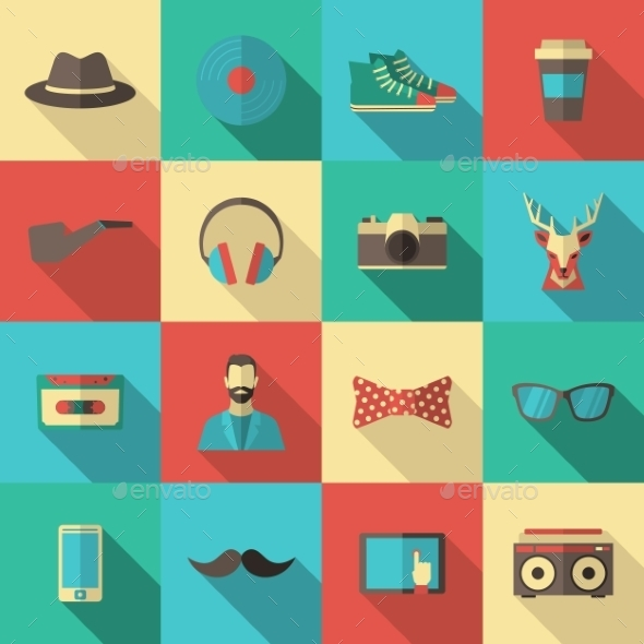 GraphicRiver Hipster Flat Icon Set 11579911