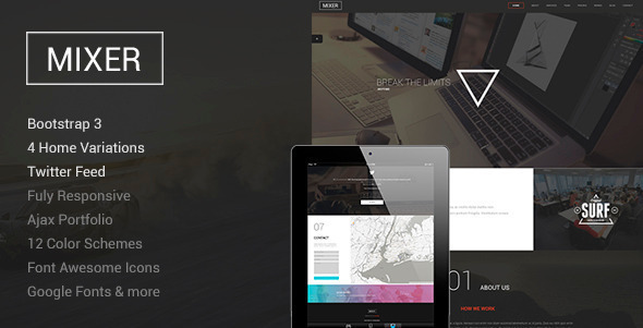 ThemeForest Mixer Responsive One Page WP Theme 11579927