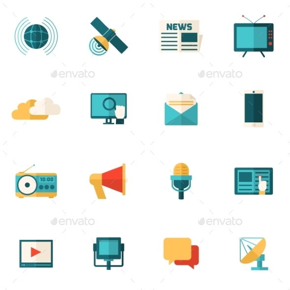 GraphicRiver Media Flat Icons Set 11579935
