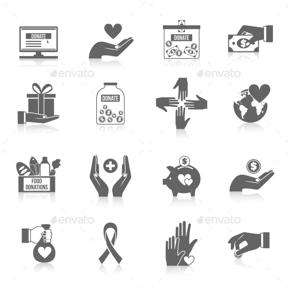 GraphicRiver Charity Icon Black Set 11580010