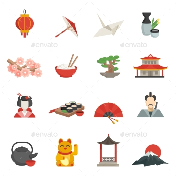 GraphicRiver Japanese Icons Flat Set 11580013