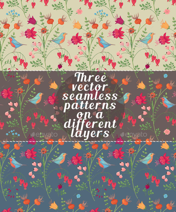 GraphicRiver Three Botanical Seamless Patterns 11580274