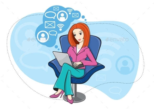 GraphicRiver Woman Sitting in Chair Working on Notebook 11580279