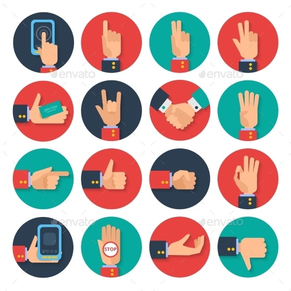 GraphicRiver Hands Icons Set Flat 11580345