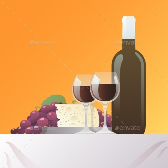 GraphicRiver Wine and Cheese Still Life 11580355