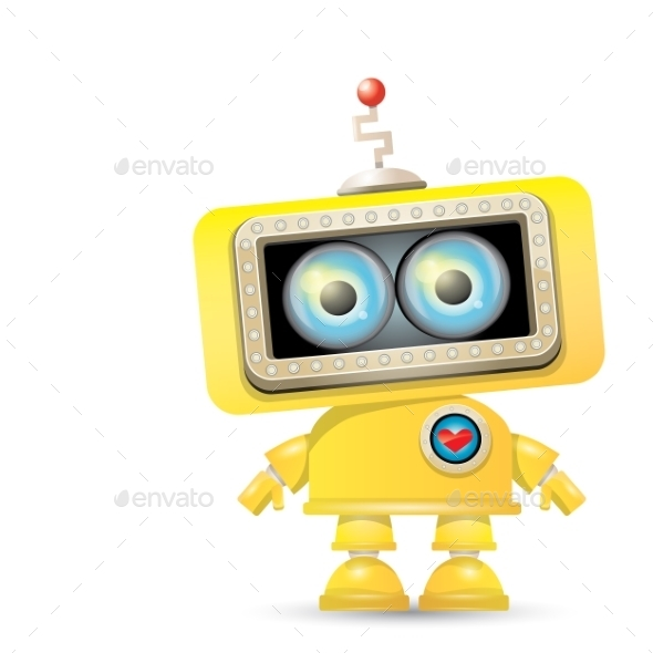 GraphicRiver Cartoon Robot Isolated On White 11580358