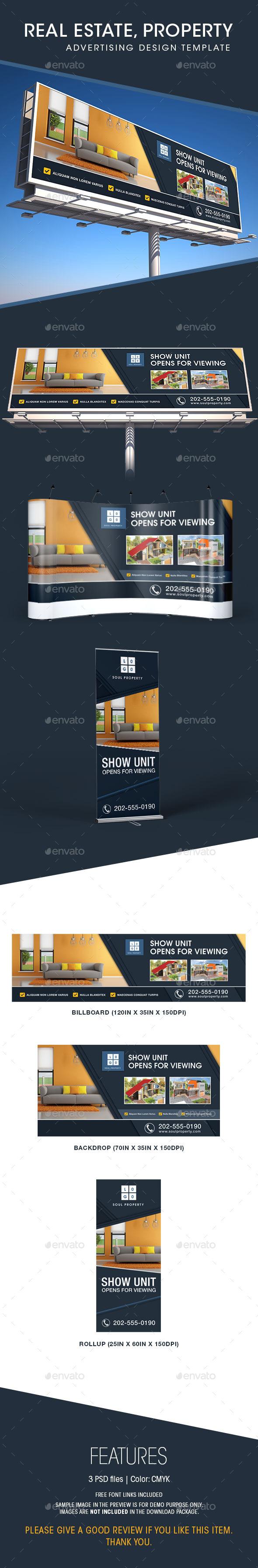 GraphicRiver Real Estate Billboard Backdrop & Rollup Design 11580370