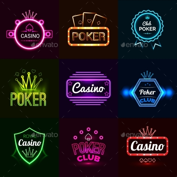 GraphicRiver Neon Casino Emblems 11580369