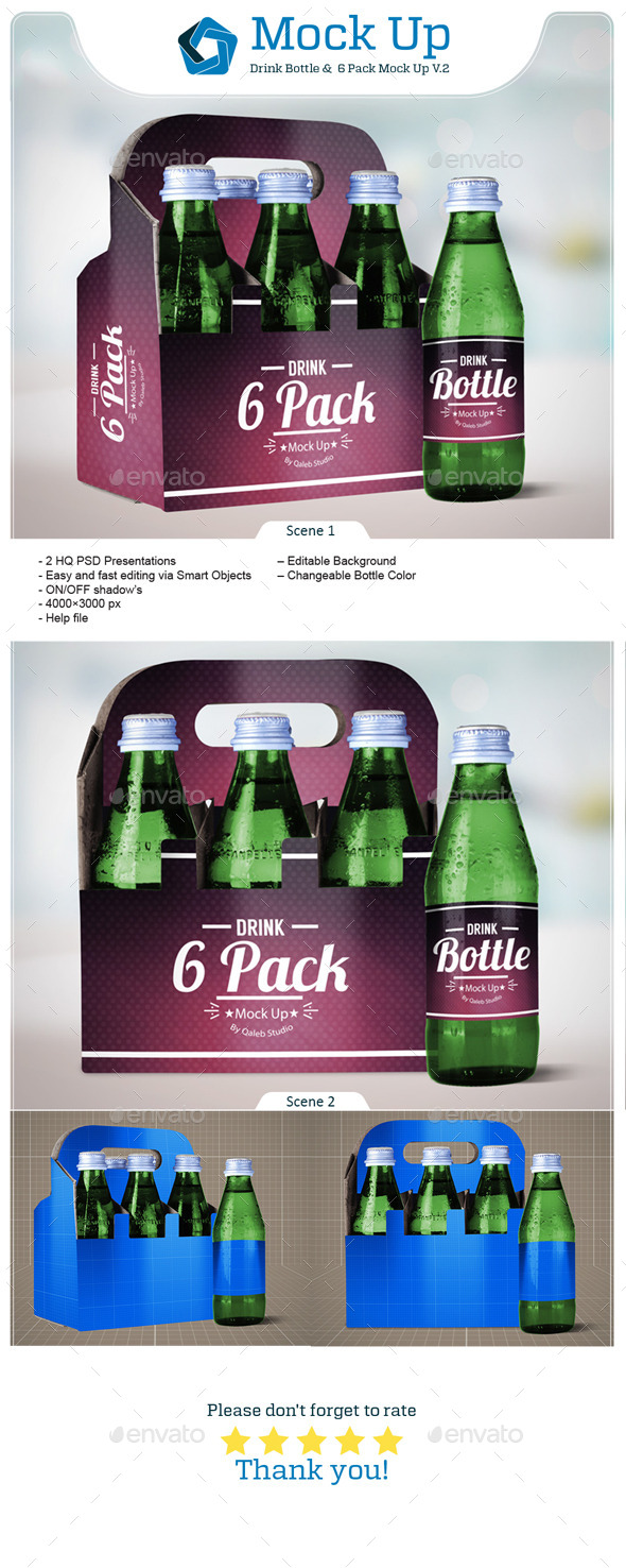 GraphicRiver Drink Bottle & 6 Pack Mock Up V.2 11580440