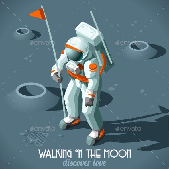 GraphicRiver Astronaut Moon Landing Isometric 11580522
