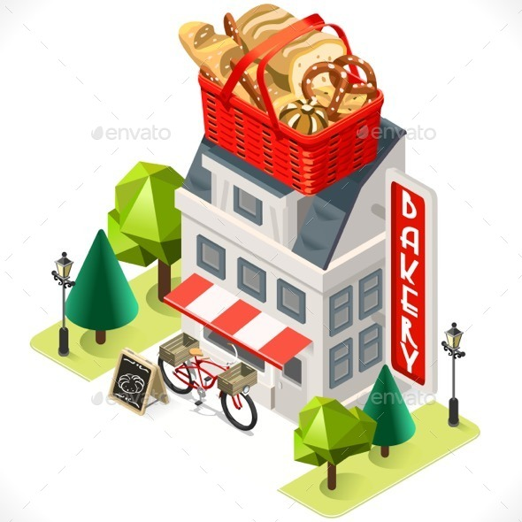 GraphicRiver Bakery Building Isometric Icon 11580532