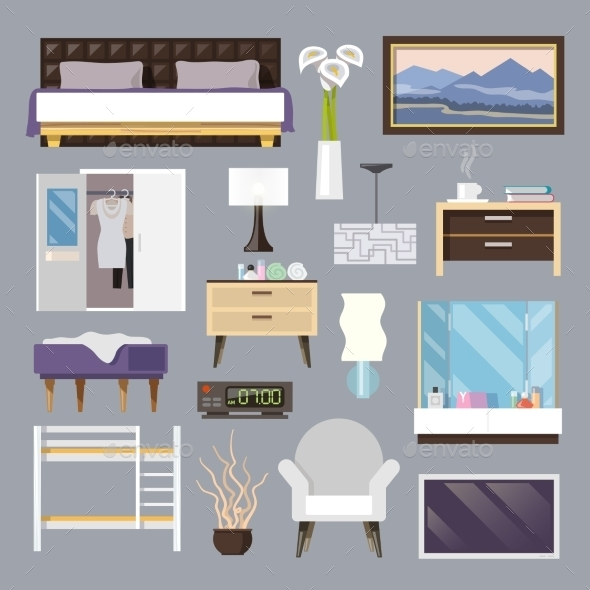 GraphicRiver Bedroom Furniture Flat Icons Set 11580762