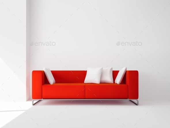GraphicRiver Red Sofa with White Pillows 11580764