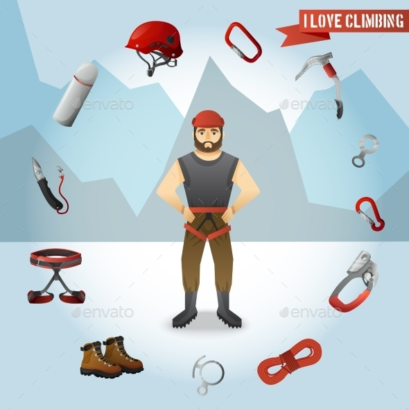 GraphicRiver Mountain Climber Character Icons Composition 11580775