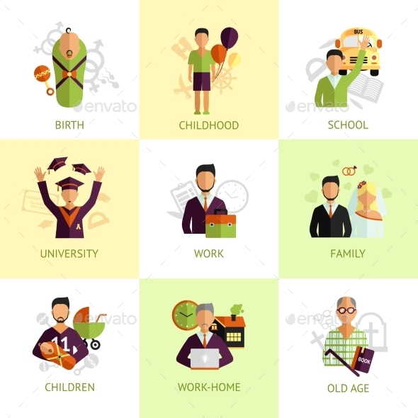 GraphicRiver Human Life Stages Icons Set 11580814