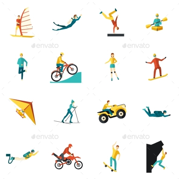 GraphicRiver Extreme Sports Flat Icons Set 11580832