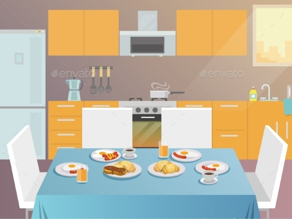 GraphicRiver Breakfast Table Flat 11580857