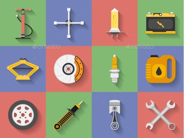 GraphicRiver Icon Set of Car Repair Parts 11580930