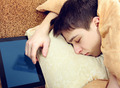 Teenager sleep with Tablet - PhotoDune Item for Sale