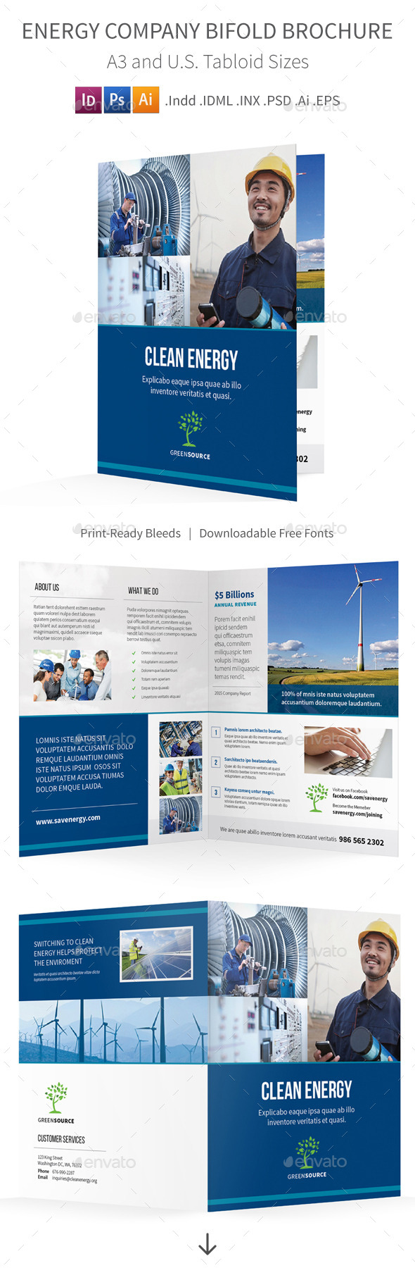 GraphicRiver Energy Company Bifold Halffold Brochure 11580980